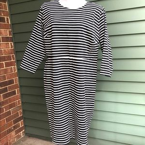 Old Navy Black and White Striped Cotton Shift
